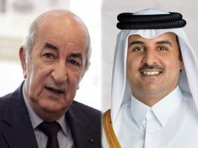 صورة رئيس الجمهورية يتلقى مكالمة هاتفية من أمير دولة قطر