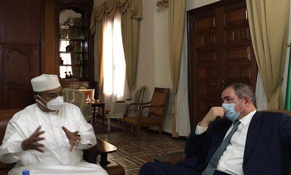 صورة بوقادوم يتحادث بباماكو مع رئيس بعثة مينوسما