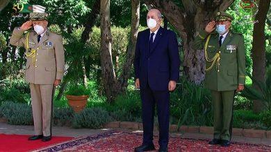 صورة رئيس الجمهورية يترأس الحفل السنوي لتقليد الرتب العسكرية
