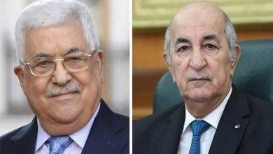 صورة رئيس الجمهورية يتلقى اتصالا من نظيره الفلسطيني