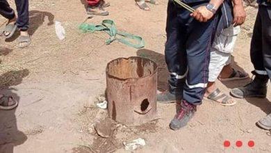 صورة انتشال جثة الشاب هشام المتوفي في البئر الإرتوازي