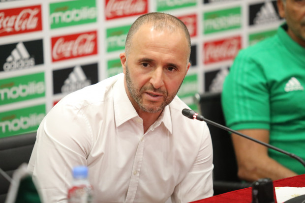 Photo de la conférence de presse de Belmadi en points